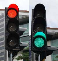 Red and green traffic signa